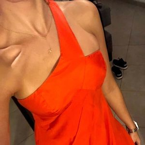 Armani Exchange Orange Cocktail Silk Dress
